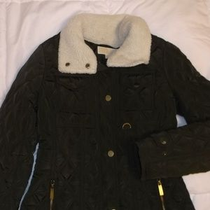 Michael Kors Olive Quilted Sherpa Jacket
